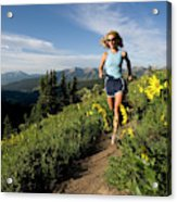 A Couple Trail Running Acrylic Print