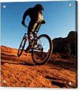 A Middle Age Man Rides His Mountain Acrylic Print