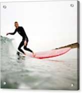 A Surfer Enjoys The Waves In Carlsbad Acrylic Print