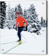 A Young Woman Cross-country Skiing Acrylic Print
