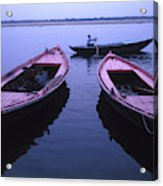 Boats On The Ganges River Acrylic Print