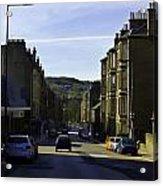 Car In A Queue Waiting For A Signal In Edinburgh Acrylic Print