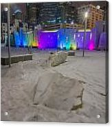 Charlotte Queen City Skyline Near Romare Bearden Park In Winter Snow Acrylic Print
