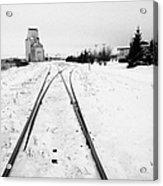 Cn Canadian National Railway Tracks And Grain Silos Kamsack Saskatchewan Canada Acrylic Print