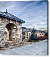 Cultured Stone Terrace Trellis Details Near Park In A City  Acrylic Print