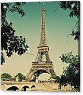 Eiffel Tower And Bridge On Seine River In Paris Acrylic Print