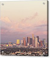 Elevated View Of City At Dusk, Downtown Acrylic Print