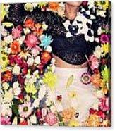 Fashion Model Posing With Flowers Acrylic Print