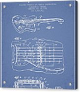 Fender Floating Tremolo Patent Drawing From 1961 - Light Blue Acrylic Print by Aged Pixel