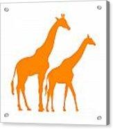 Giraffe In Orange And White Acrylic Print