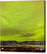 Green Glow Of Northern Lights Or Aurora Borealis Acrylic Print