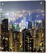 Hong Kong Harbor From Victoria Peak At Night Acrylic Print