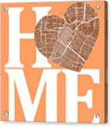 Houston Street Map Home Heart - Houston Texas Road Map In A Hear Acrylic Print