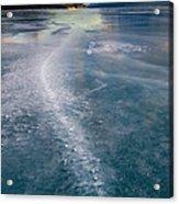 Ice Pattern On Frozen Abraham Lake Acrylic Print