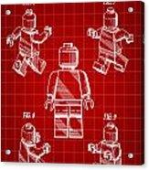 Lego Figure Patent 1979 - Red Acrylic Print