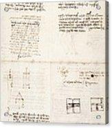 Leonardo Da Vinci's Notes Acrylic Print