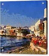Little Venice In Mykonos Island Acrylic Print