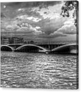 London Thames Bridges Bw Acrylic Print