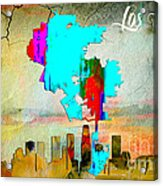 Los Angeles Map And Skyline Acrylic Print