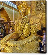 4 M Tall Sitting Buddha With Thick Layer Of Golden Leaves In Mahamuni Pagoda Mandalay Myanmar Acrylic Print