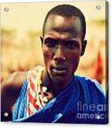 Maasai Man Portrait In Tanzania Acrylic Print