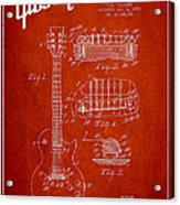 Mccarty Gibson Les Paul Guitar Patent Drawing From 1955 - Red Acrylic Print