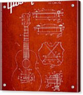 Mccarty Gibson Stringed Instrument Patent Drawing From 1969 - Red Acrylic Print by Aged Pixel