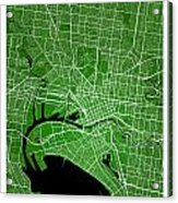 Melbourne Street Map - Melbourne Australia Road Map Art On Color Acrylic Print