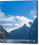 Milford Sound And Mitre Peak In Fjordland Np Nz Acrylic Print