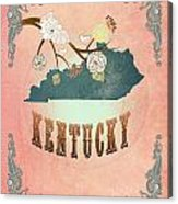 Modern Vintage Kentucky State Map  Acrylic Print