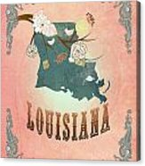 Modern Vintage Louisiana State Map  Acrylic Print