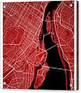 Montreal Street Map - Montreal Canada Road Map Art On Colored Ba Acrylic Print