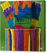 Multicolored Paint Can With Brushes Acrylic Print