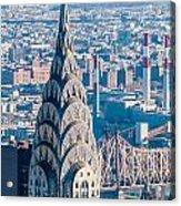New York City Manhattan Midtown Aerial Panorama View With Skyscr Acrylic Print