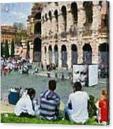 Outside Colosseum In Rome Acrylic Print