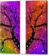 4-panel Snow On The Colorful Cherry Blossom Trees Acrylic Print