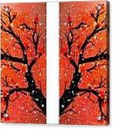 4-panel Snow On The Orange Cherry Blossom Trees Acrylic Print