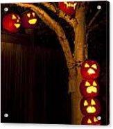 Pumpkin Escape Over Fence Acrylic Print