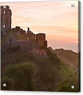 Romantic Fantasy Magical Castle Ruins Against Stunning Vibrant S Acrylic Print
