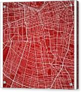 Santiago Street Map - Santiago Chile Road Map Art On Colored Bac Acrylic Print