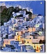 Serifos Town During Dusk Time Acrylic Print