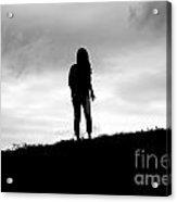 Silhouette Of Girl Against Overcast Sky Acrylic Print
