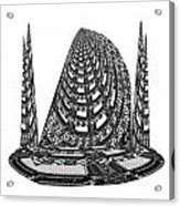 Sparkle Bnw White Pyramid Dome Ancient Arch Architecture Formation Obtained During Deep Meditation W Acrylic Print