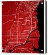 Thunder Bay Street Map - Thunder Bay Canada Road Map Art On Colo Acrylic Print