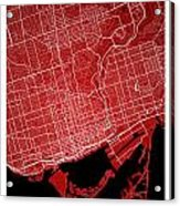 Toronto Street Map - Toronto Canada Road Map Art On Colored Back Acrylic Print