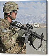 U.s. Army Specialist Provides Security Acrylic Print