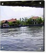 View Of Lake Resort Framed From The Top Of A Houseboat Acrylic Print