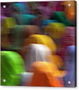 Women In Colorful Saris Gather Acrylic Print