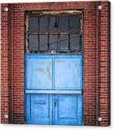 401 Blue Factory Door Acrylic Print