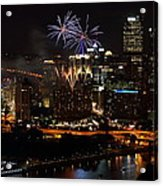 4th Of July Firworks In Pittsburgh Acrylic Print by Jetson Nguyen